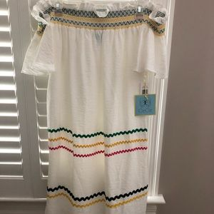 NWT CECE Off Shoulder White Rick Rack Dress